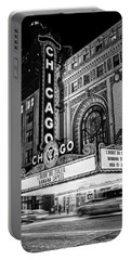 Chicago Theatre Marquee Sign At Night Black And White Portable Battery Charger