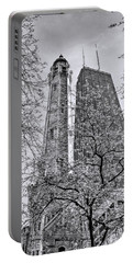 Chicago Water And Hancock Towers Black And White Portable Battery Charger