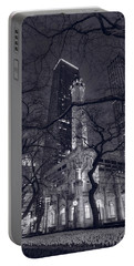 Chicago Water Tower Dusk B W Portable Battery Charger