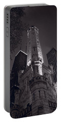 Chicago Water Tower Panorama B W Portable Battery Charger