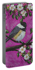 Chickadee In Apple Blossoms Portable Battery Charger