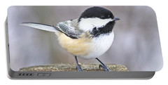 Chickadee On A Used To Be Tree Portable Battery Charger by Heather King