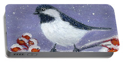 Chickadee Winter Portable Battery Charger