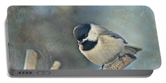 Chickadee With Texture Portable Battery Charger by Debbie Portwood