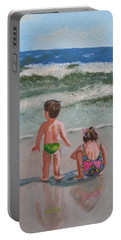 Children On The Beach Portable Battery Charger