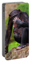Chimp With A Baby On Her Belly  Portable Battery Charger