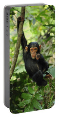 Chimpanzee Baby On Liana Gombe Stream Portable Battery Charger