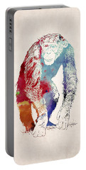 Chimpanzee Drawing - Design Portable Battery Charger by World Art Prints And Designs