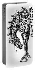 Chinese Horse - Zentangle Portable Battery Charger by Jani Freimann