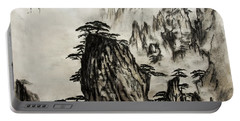 Portable Battery Charger featuring the painting Chinese Mountains With Poem In Ink Brush Calligraphy Of Love Poem by Peter v Quenter