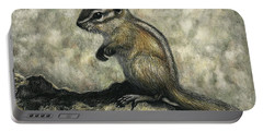 Portable Battery Charger featuring the drawing Chipmunk  by Sandra LaFaut