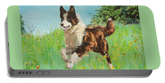 Chocolate Border Collie In Meadow Portable Battery Charger