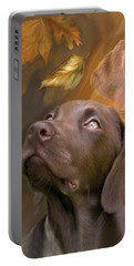 Portable Battery Charger featuring the mixed media Chocolate Lab by Carol Cavalaris