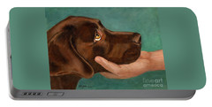 Chocolate Lab Head In Hand Portable Battery Charger