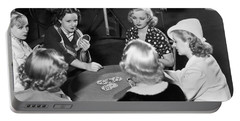 Chorus Girls Playing Hearts Portable Battery Charger