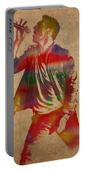 Chris Martin Coldplay Watercolor Portrait On Worn Distressed Canvas Portable Battery Charger by Design Turnpike