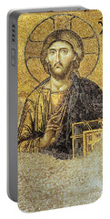 Christ Pantocrator-detail Of Deesis Mosaic Hagia Sophia-judgement Day Portable Battery Charger