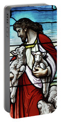 Christ The Good Shepherd With His Flock Portable Battery Charger