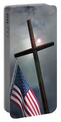 Christian Cross And Us Flag Portable Battery Charger