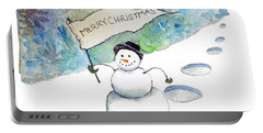 Portable Battery Charger featuring the painting Christmas Announcement by Katherine Miller