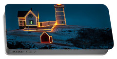 Christmas At Nubble Light Portable Battery Charger