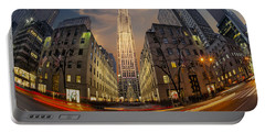 Christmas At Rockefeller Center Portable Battery Charger by Susan Candelario