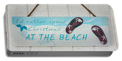 Christmas At The Beach Portable Battery Charger by Betty LaRue