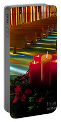 Portable Battery Charger featuring the photograph Christmas Candles At Church Art Prints by Valerie Garner
