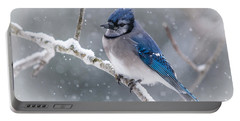 Christmas Card Bluejay Portable Battery Charger by Cheryl Baxter