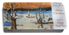 Christmas Card Painting Portable Battery Charger by Peter v Quenter