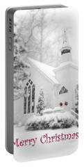 Historic Church Oella Maryland - Christmas Card Portable Battery Charger by Vizual Studio