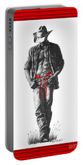 Portable Battery Charger featuring the drawing Christmas  Cowboy  De Noel by Marianne NANA Betts