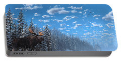 Christmas Day At Moose Lake Portable Battery Charger by Ken Morris
