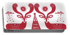 Christmas Deers Portable Battery Charger by Susan Claire