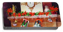 Christmas Fireplace Time For Holidays Portable Battery Charger