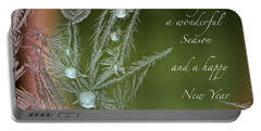 Portable Battery Charger featuring the mixed media Christmas Greeting Card Ice Flowers by Peter v Quenter