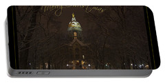 Christmas Greeting Card Notre Dame Golden Dome In Night Sky And Snow Portable Battery Charger