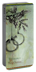 Portable Battery Charger featuring the painting Christmas Greeting Card With Ink Brush Drawing by Peter v Quenter