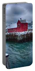 Christmas In Rockport Massachusetts Portable Battery Charger by Jeff Folger