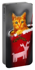 Christmas Kitten Portable Battery Charger by Ken Morris