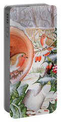 Christmas Robins Portable Battery Charger by Tony Todd