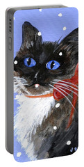Portable Battery Charger featuring the painting Christmas Siamese by Jamie Frier