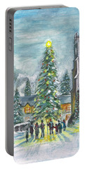 Portable Battery Charger featuring the painting Christmas Spirit by Teresa White