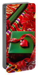 Christmas Wrap With Heart Ornament Portable Battery Charger