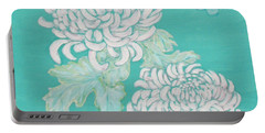 Portable Battery Charger featuring the painting Chrysanthemums And Butterflies by Stephanie Grant