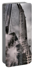 Chrysler Building With Gargoyles And Steam Portable Battery Charger