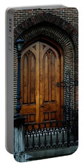 Church Arch And Wooden Door Architecture Portable Battery Charger by Lesa Fine