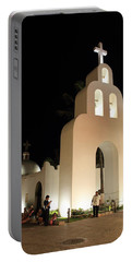 Church At Night In Playa Del Carmen Portable Battery Charger by Roupen  Baker