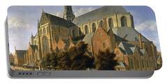 Church Of St. Bavo In Haarlem, 1666 Oil On Panel Portable Battery Charger by Gerrit Adriaensz Berckheyde