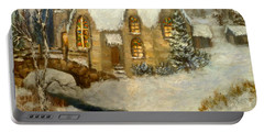 Church Snow Paintings Portable Battery Charger
